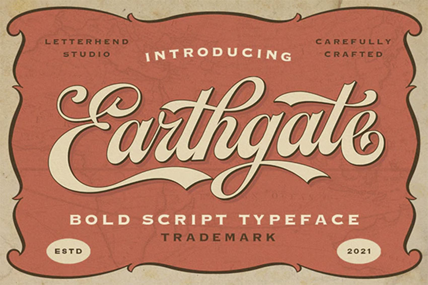 Earthgate - Vintage Script Font Alphabet