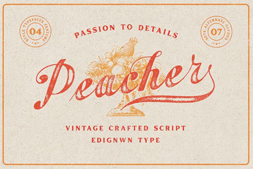 Peacher - Vintage Script Lettering