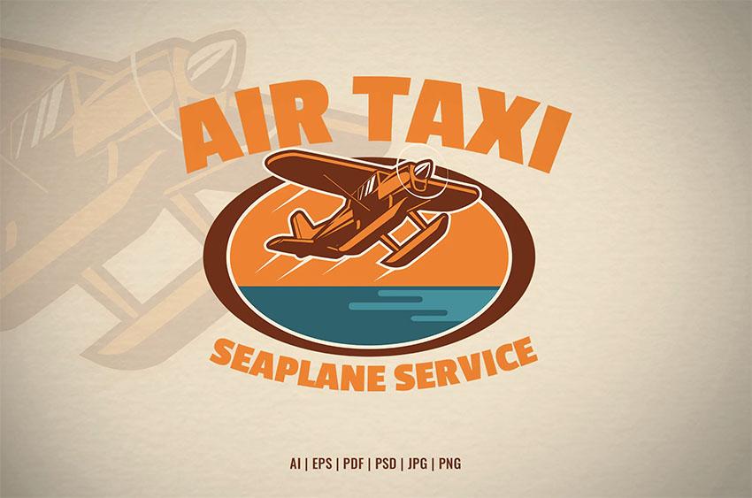 Seaplane Service Retro Logo Design