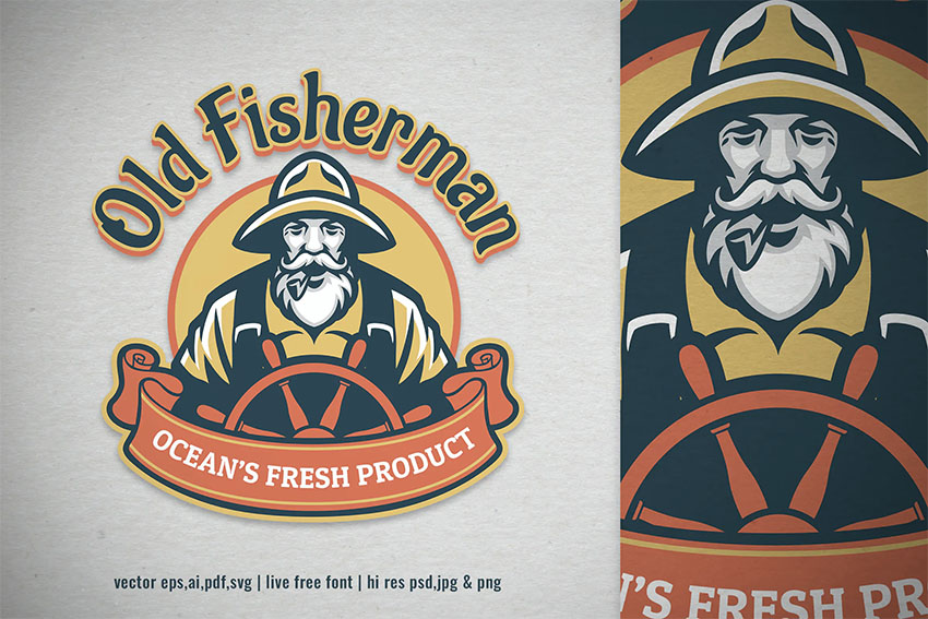 Fisherman Vintage Badge Logo