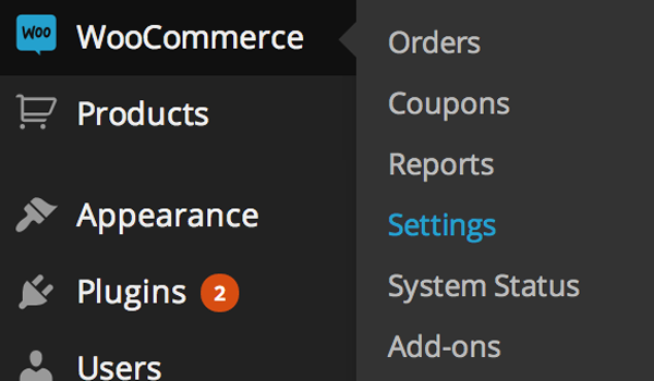 WooCommerce Settings menu