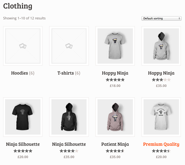 Clothing showing both subcategories and products