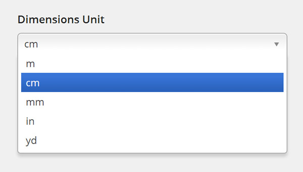 Dimensions Unit options