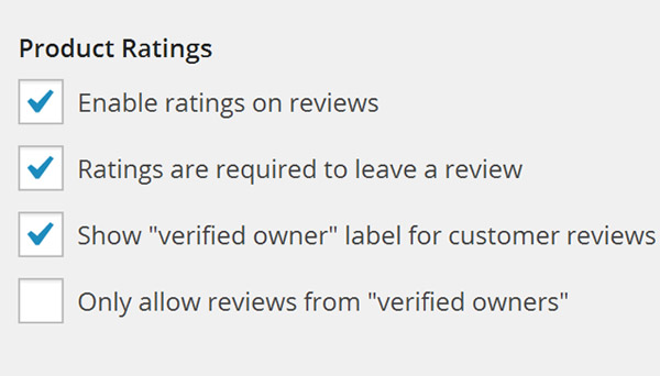 Product Ratings options