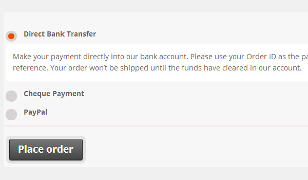 Front end of payment gateways in WooCommerce