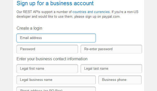 Sign up for a PayPal business account