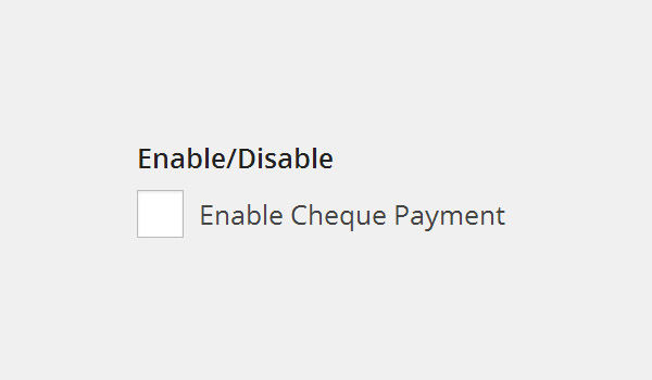 Enable cheque payment