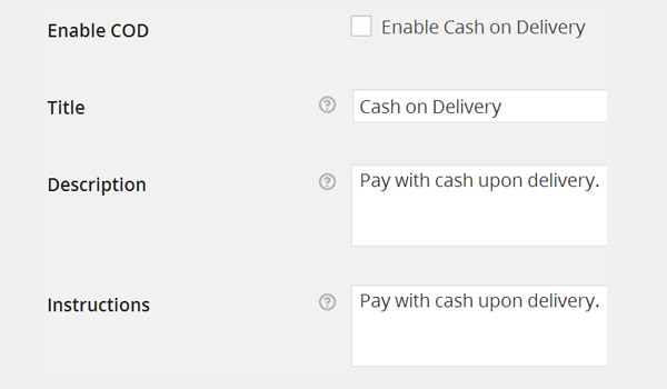 Cash on Delivery options