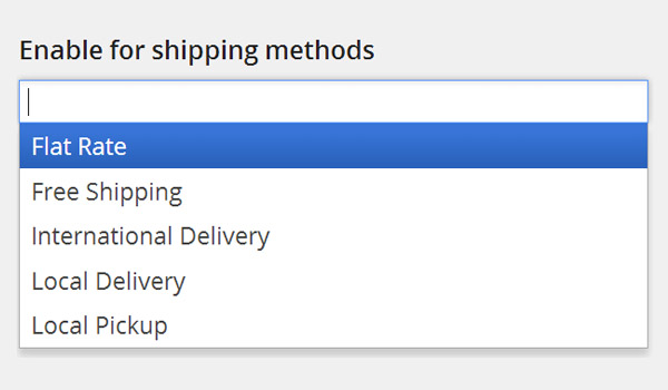 Enable for shipping methods