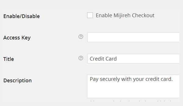 Mijireh Checkout options