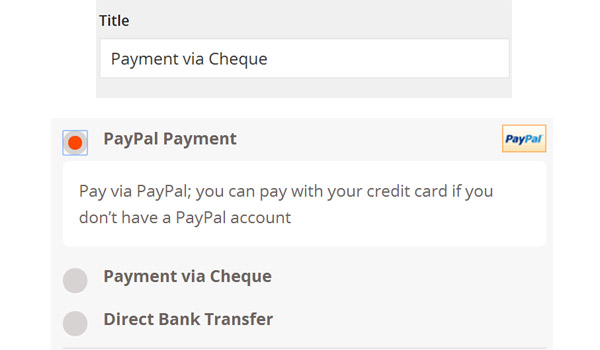 Payment via Cheque custom text