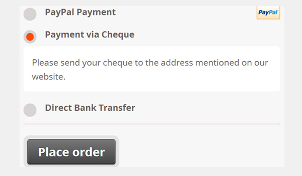 Payment via Cheque - new description