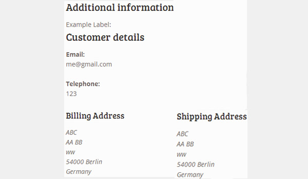 Billing and Shipping Addresses being displayed on checkout page