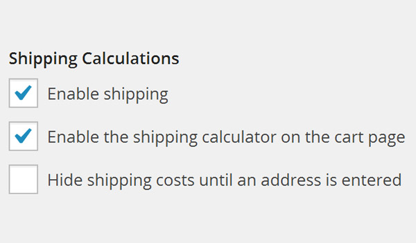 Shipping Calculations options
