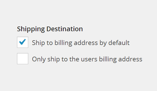 Shipping Destination options