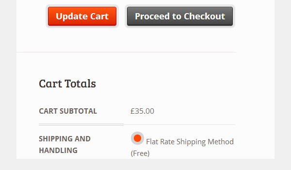 Cart showing Flat Rate Shipping Method text