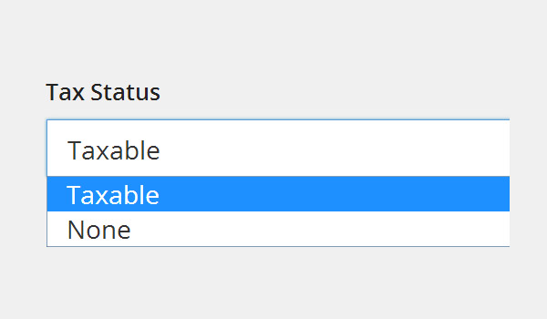 Tax Status dropdown menu