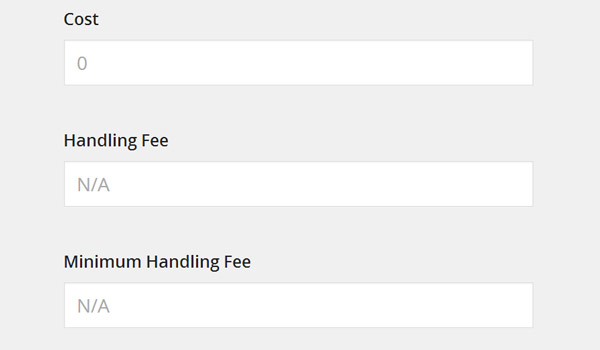 Cost Handling Fee and Minimum Handling Fee
