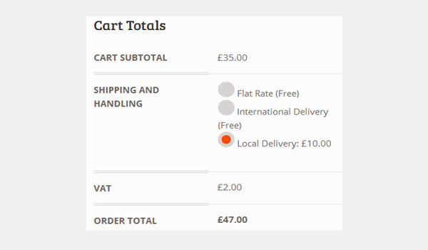 Cart showing order total of 47 pounds