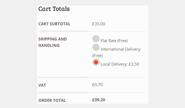 Cart showing order total of 39 pounds 20