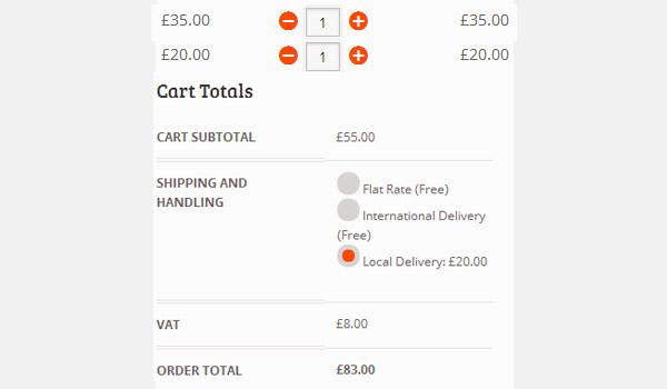 Cart showing order total of 83 pounds
