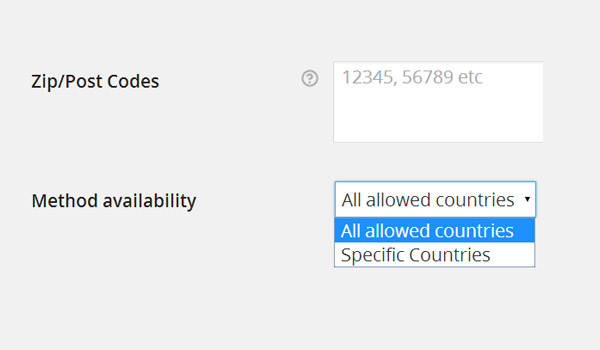 Zip codes and Method availability