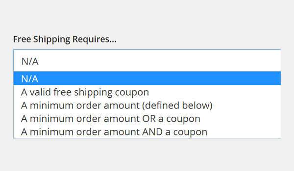 Free Shipping Requires dropdown menu