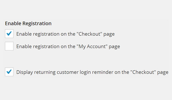 Enable Registration options