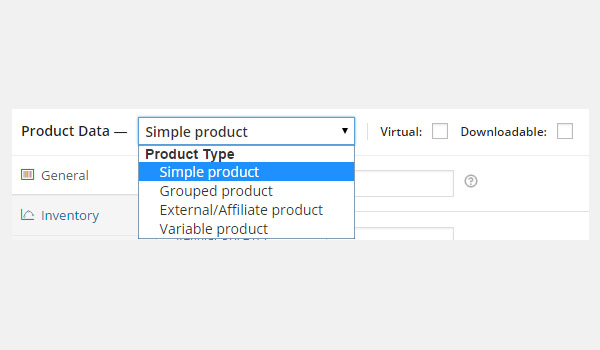Product Data dropdown menu