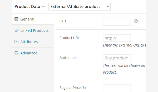 General tab settings for external or affiliate product