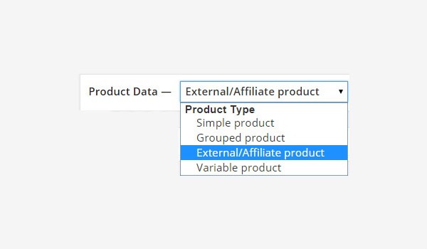 ExternalAffiliate product from the Product Data drop-down menu