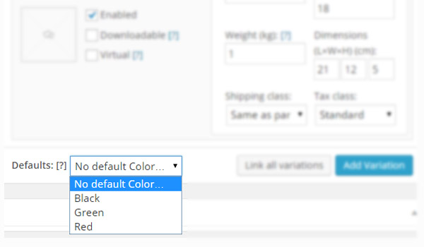 Defaults dropdown menu