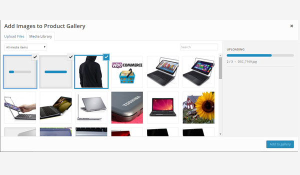Image uploader for product gallery