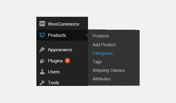 Product categories menu