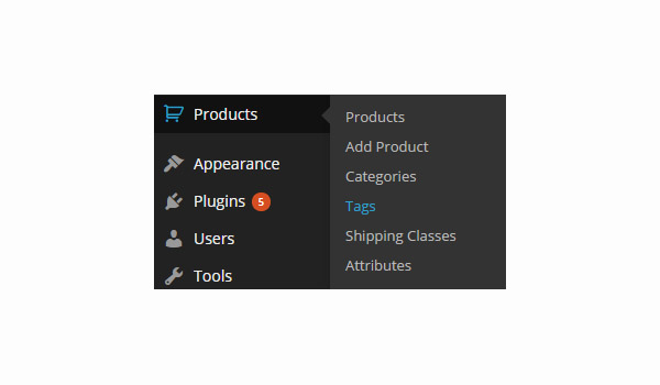 Product Tags menu