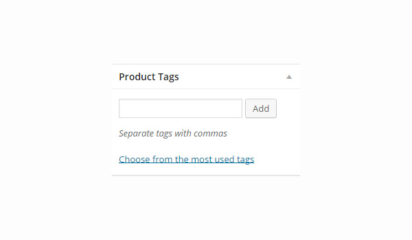 Product Tags field on the Add product page