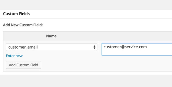customer email custom field