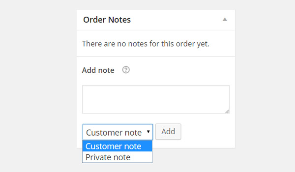 Order Notes section