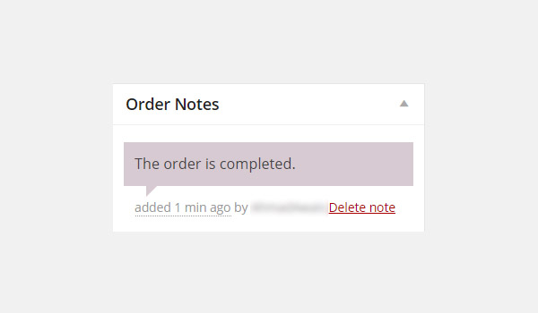 Order Note saying The order is completed