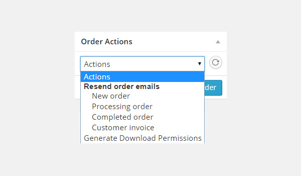 Order Actions dropdown menu