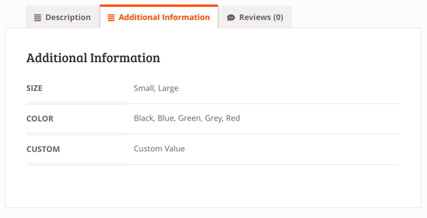 Additional Information Size Color Custom