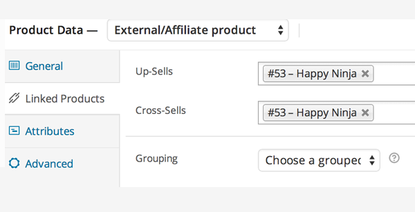 Linked Products settings for externalaffiliate product