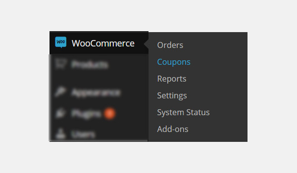 WooCommerce Coupons menu
