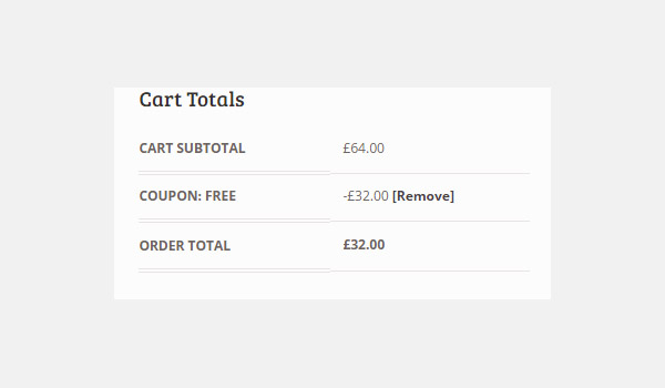 Cart Totals page showing a 50 percent discount