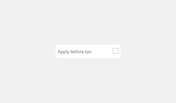 Apply before tax checkbox