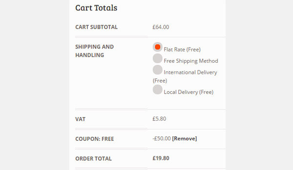 Cart showing discount applied