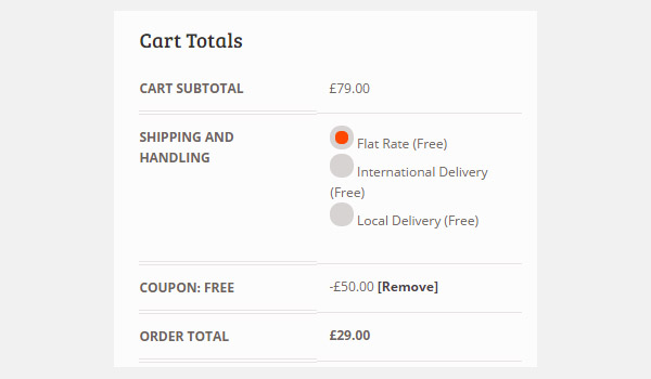 Cart totals showing discount applied