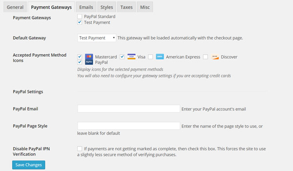Easy Digital Downloads Payment Gateways Settings