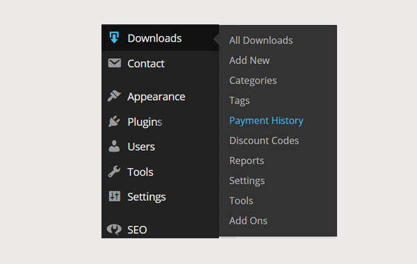 Easy Digital Downloads: Payment History