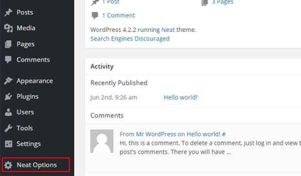 how to make dashboard panel in wordpress